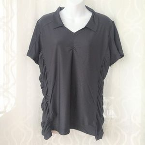 Sold - Athleta Grey Ruched Collared Shirt